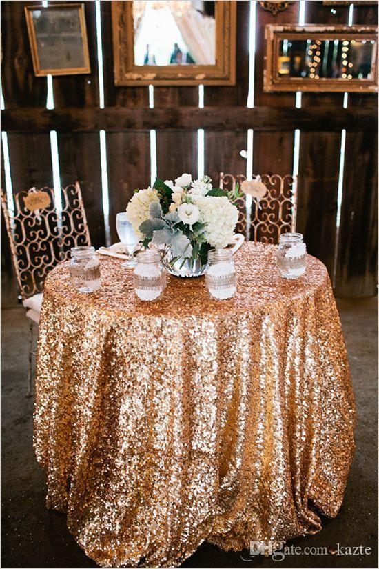 Gold Rose Sequined Round Table Cloth Sparkly Champagne Tablecloth Elegant Wedding Sequin Table Dress Fabrics 2017 Cheap Wholesale