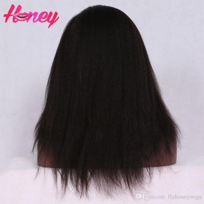 Glueless full lace wigs brazilian kinky straight human hair lace front wigs black women virgin kinky straight wigs