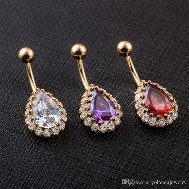 كبير الماس قطرة الماء خواتم السرة واضحة الجسم الجراحية ثقب المجوهرات الصلب السرة الطوق البطن زر بار نجمة جديد