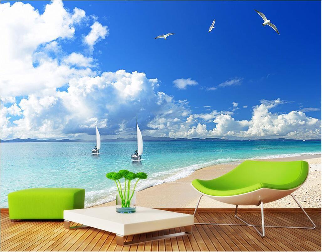 3d Wallpaper Custom Photo Mural Beach Landscape Scenery Tv