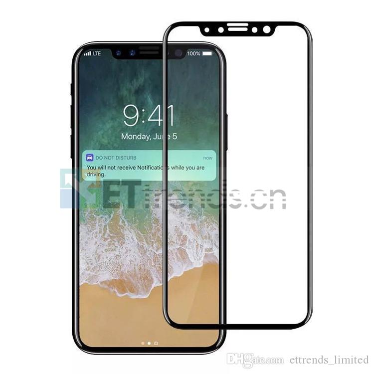 For iPhone X Full Printed 9H Hardness No Bubbles Tempered Glass Screen Protector with Paper Box Package DC1097 DHL Black Color