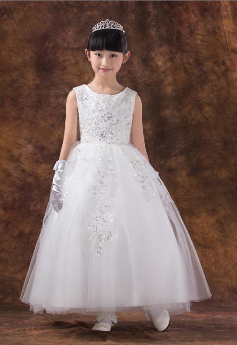 Nova princesa branca sem mangas de casamento vestidos de dama de honra grande bowknot bonito vestido de menina de flor 2016 vestido de festa de aniversário das crianças