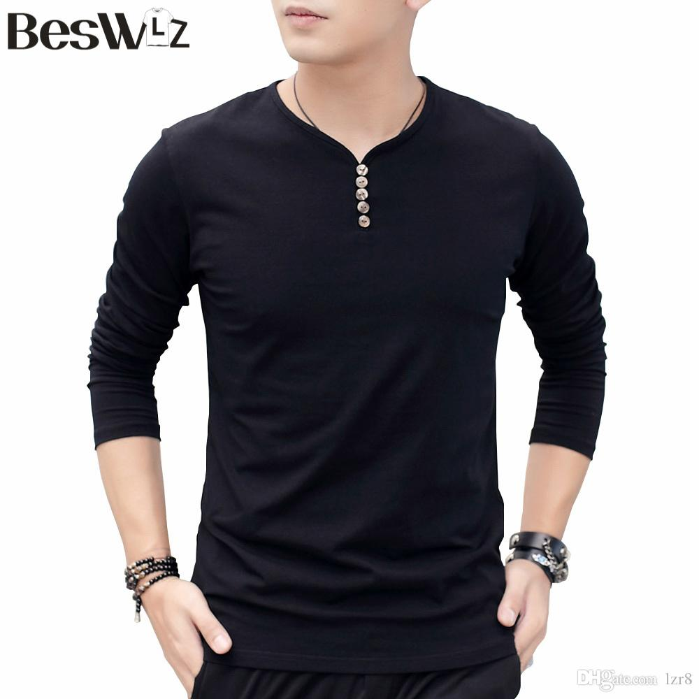 Beswlz Autumn Winter Long Sleeve V Neck Men T Shirts Cotton Solid Color  Casual Style Men Tops Tees Slim Fit T Shirts 7906 Tee Shirt Funny Tee Shirt  ...