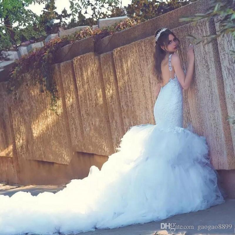 2018 Sexy Mermaid Wedding Dresses Sweetheart Spaghetti Straps Lace Backless Wedding Gowns Long Tutu Train Gorgeous Country Dress