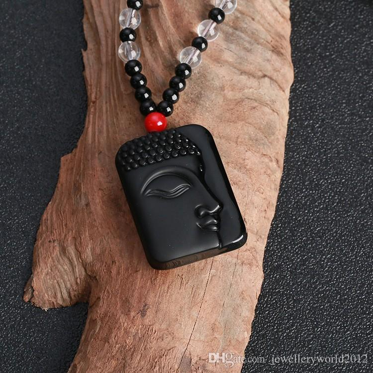 العقيق حجر السج نصف الحجر وجه بوذا رئيس سترة سلسلة قلادة قلادة درء سيئة