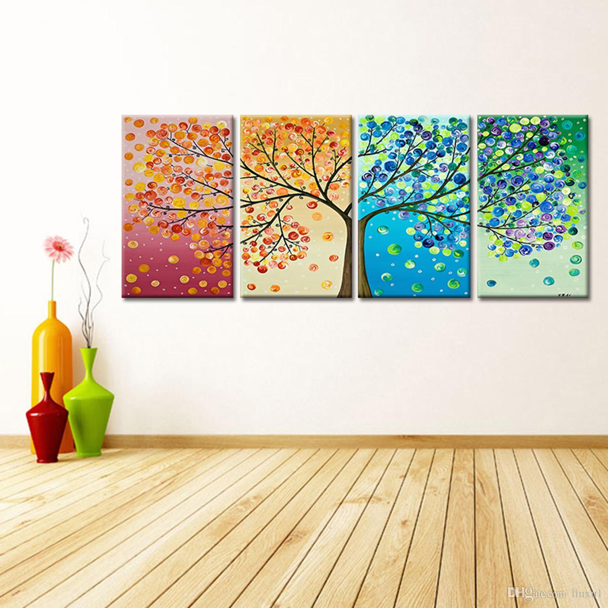 Background Colorful Room: Online Cheap Fashionable Four Seasons Colorful Tree