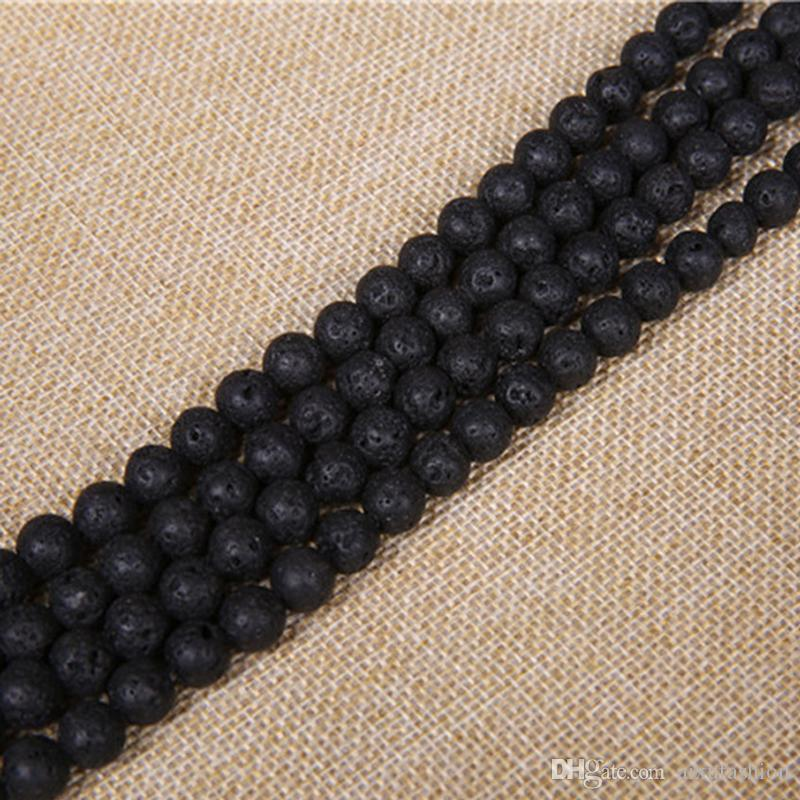 4 6 8 10 12mm Natural Lava Stone Beads Black Volcanic Rock Round Stone Loose Beads For DIY Jewelry Bracelet Making Wholesale