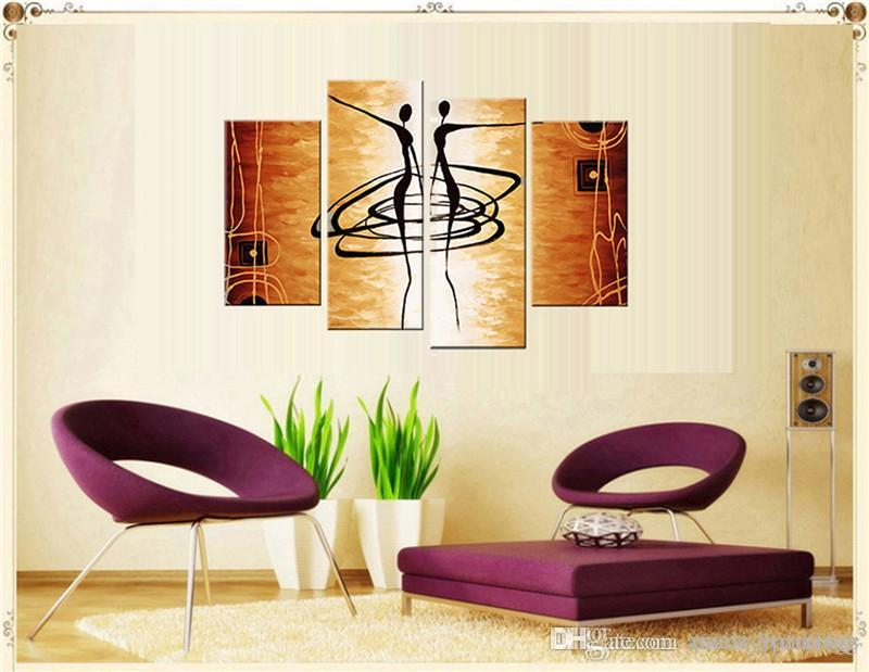 4 Picture Combination Dancing Women Abstract Oil Painting Fashion Wall Decorative Beautiful Girl Ballet Dancing Oil Painting On Canvas