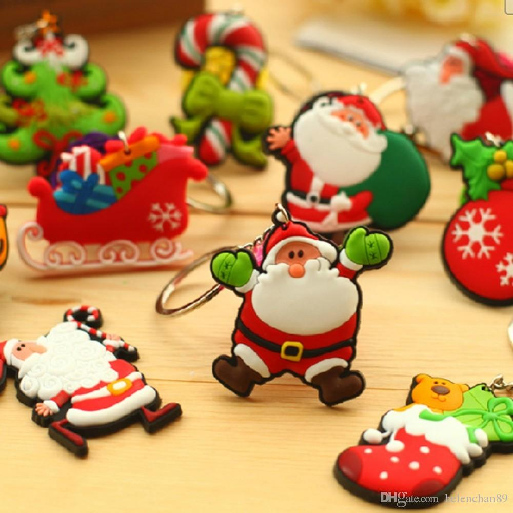50pcs Mix Pattern Cute Christmas Santa Claus Keychain Cartoon Christmas Tree Pendants Ring Key Chain Gift for Children