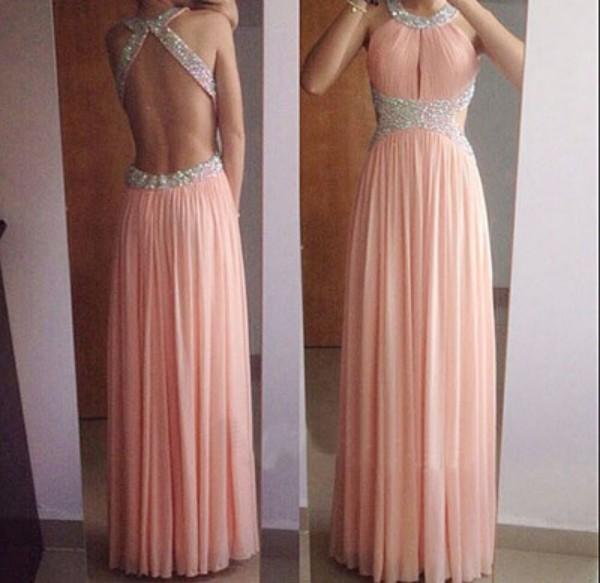 Fabulous Prom Dress Long A Line Crystals Beads Halter Neck Backless Cut Out Sexy Cutaway Waist Evening Party Gowns High Quality