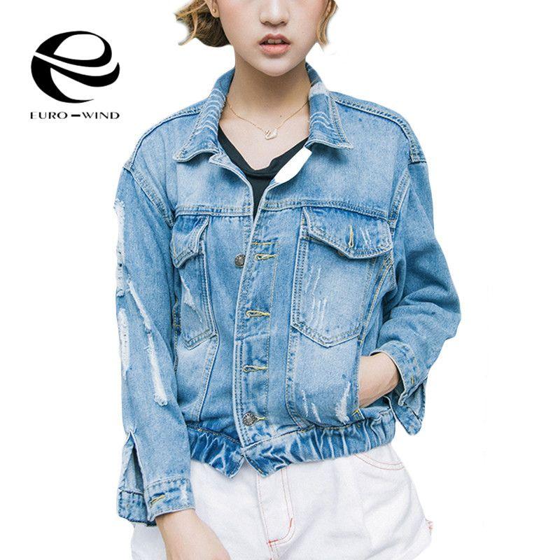 Wholesale- Denim Jacket Women Short Jeans Overcoat Ladies Jackets Tops Turn  Down Collar Drawstring Light Blue Ripped Jeans Top Women 2017 Denim Jacket  Women ...