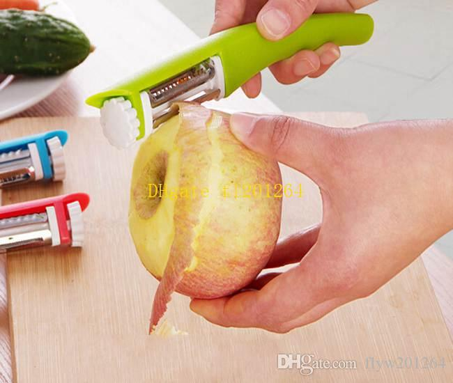 100 pz / lotto Multifunzione 360 Gradi Rotativo Carota Pelapatate Melone Gadget Verdura Frutta rapa Affettatrice Cutter coltelli