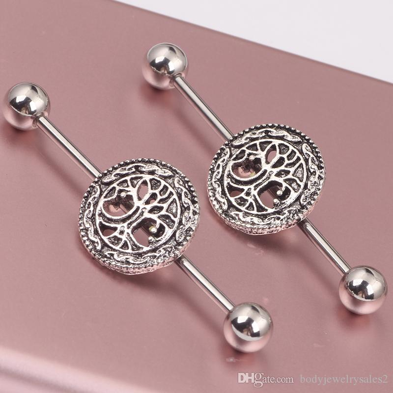 2016 NEW Arrival Pair Steel With Zinc Alloy Industrial Barbell Earrings Piercing Set Tree of Life Ear Cartilage Jewelry