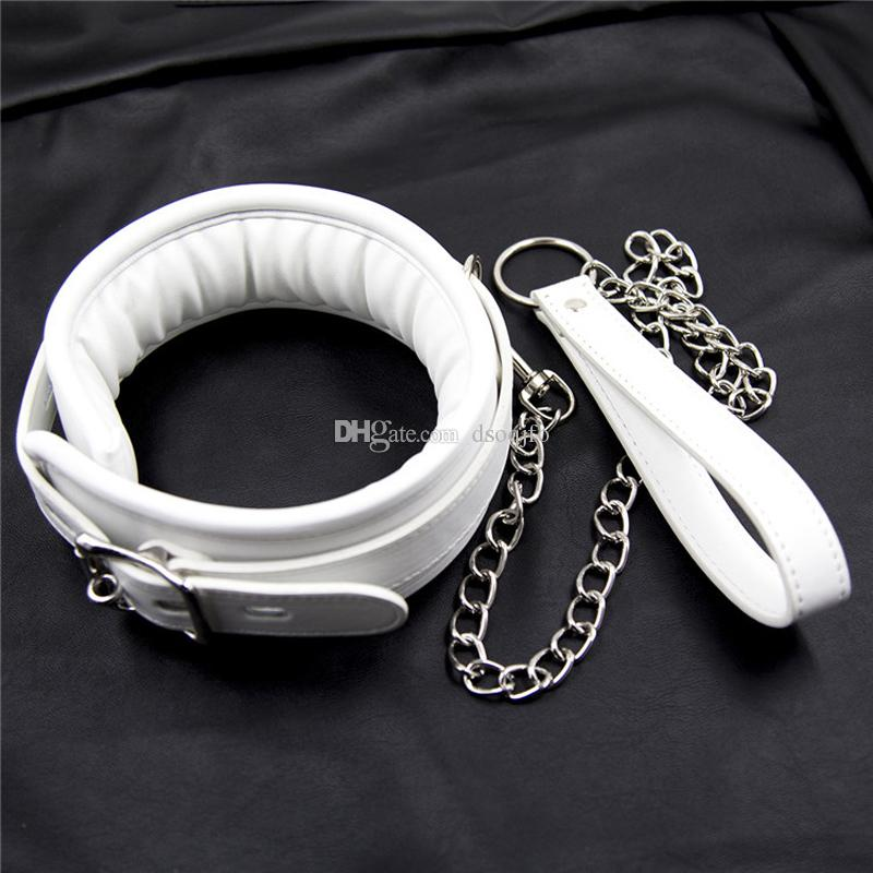 Sex Adult Collars White Color Pu Leather Bondage Collar With Chain Leash Fetish Slave -3924