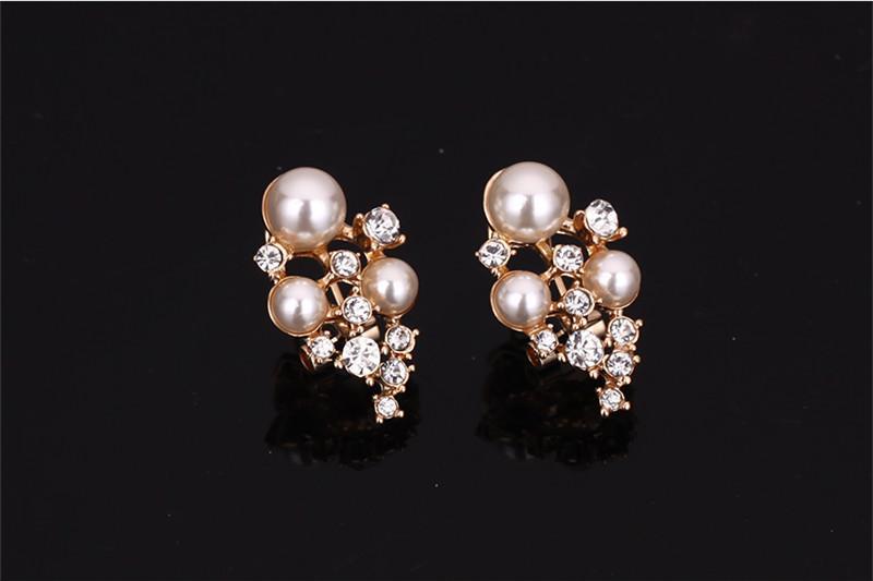 Pendientes Collar Pulsera Anillo Conjunto de joyas Elegante Moda Rhinestone / Perla de imitación 18K Chapado en oro Partido Joyería 4 piezas Conjunto JS182