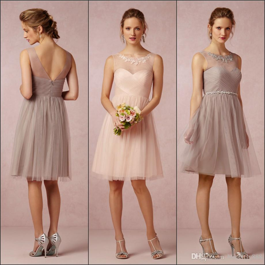 Champagne pink cheap short bridesmaid dresses sheer neckline champagne pink cheap short bridesmaid dresses sheer neckline tulle beach wedding guest dress formal prom party gowns lemon bridesmaid dresses light purple ombrellifo Image collections