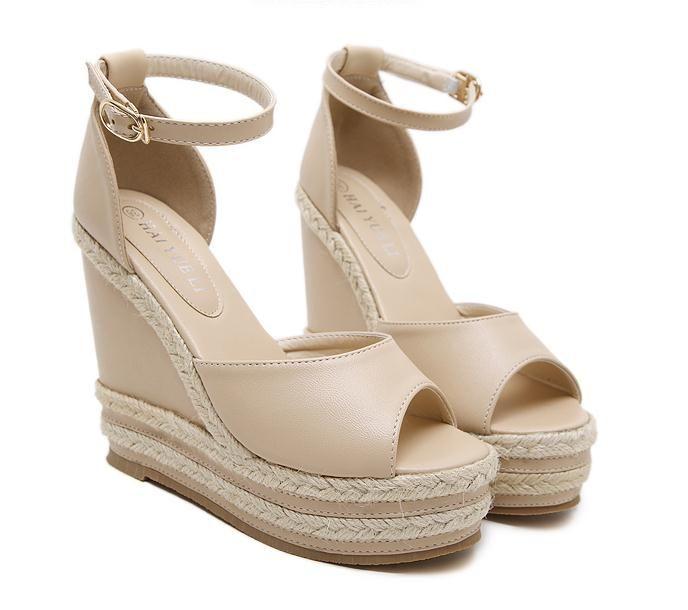 2012 Chic Summer beige color paja tejida plataforma de la cuña de la sandalia talones Rosa Blanco Negro Beige 2018 clasifica 34 a 40