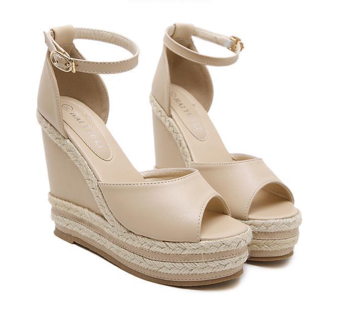 2012 Şık Yaz Bej rengi Straw Dokuma Kama Sandal Platformu Topuklar Pembe Beyaz Siyah Bej 2018 Boyut 34 40 To
