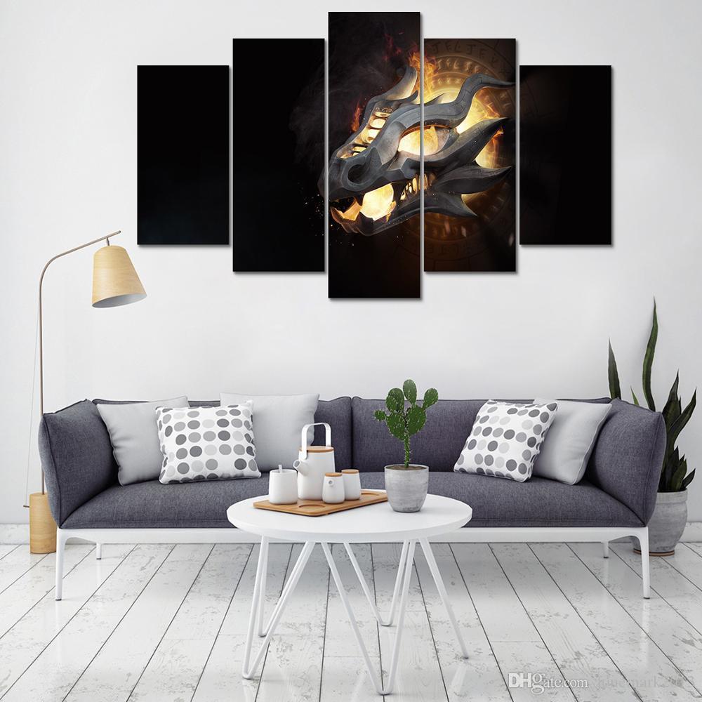 Acquista Quadri Su Tela Wall Art Home Decor Soggiorno Moderno HD Stampato 5  Pezzi Game Of Thrones Pittura Astratta Dragon Poster A $36.06 Dal ...