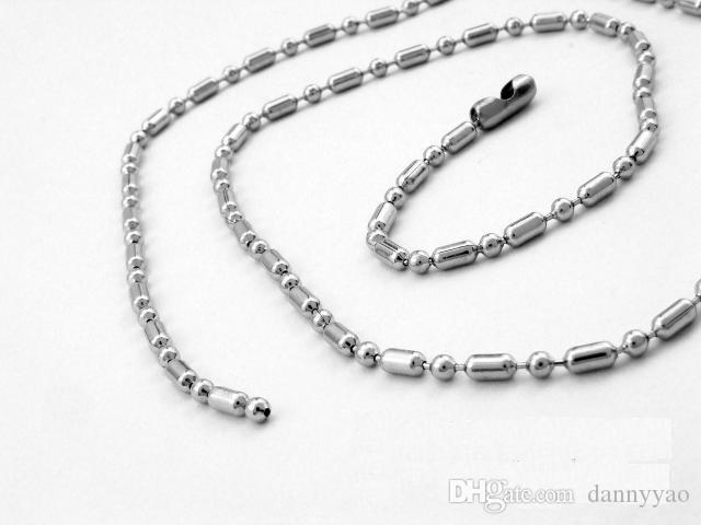 Chaîne 50mm 55cm 60cm 70cm 20cm / en acier inoxydable 304 de 2.4mm perlée de chaînes de boule de perle FN101