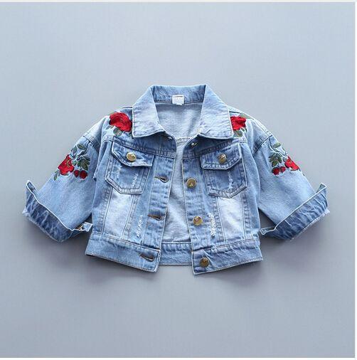 460446b0b Baby Girls Denim Jacket Vintage Jeans Jackets For Girl Toddler Baby Denim Jackets  Girls Jean Jacket Rose Flower Embroidery Kids Jackets Girls Kids ...