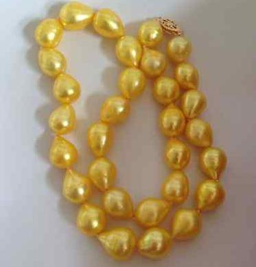 231094126cf09 Beautiful 12-13mm south sea natural baroque gold pearl necklace 18inch 14k  gold clasp