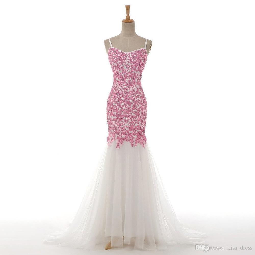 2019 Moda Mermaid Beyaz Ve Pembe Gelinlik Spagetti Sapanlar Boncuklu Dantel Tül Kat Uzunluk Gelinlikler Custom Made