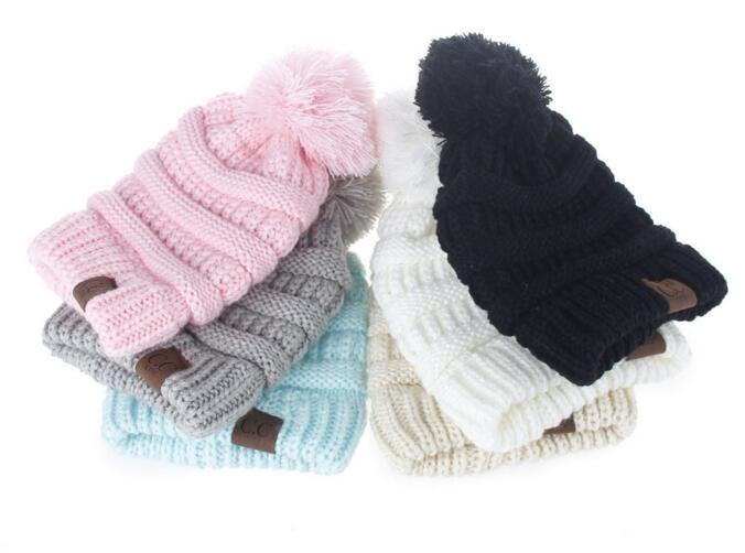 Winter gestrickte Wolle Baby Hut Unisex Mädchen Boy Kids Falten Casual CC Kennzeichnung Mützen Volltonfarbe Hip-Hop Skullies Cap