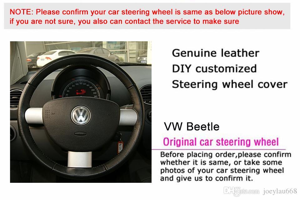 Volkswagen VW Beetle için direksiyon kapağı Durumda Hakiki deri DIY Araba tasarım Jant kapağı El dikiş