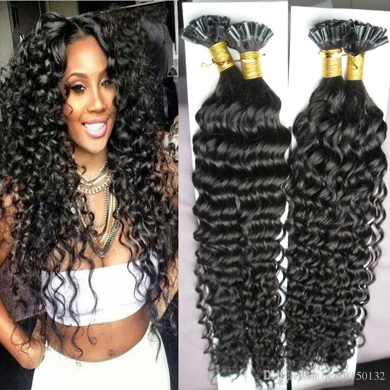 Brazilian Curly Hair Keratin Stick Tip Extensions 200s 200g Unprocessed U Kinky Pre Bonded