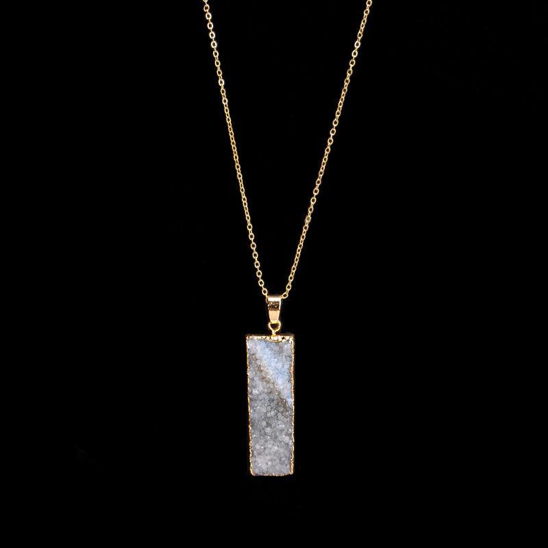 2017 hot rectangle Quartz Amethyst Citrine Pendant Necklace Women Natural Stone Crystal Quartz Necklaces fashion
