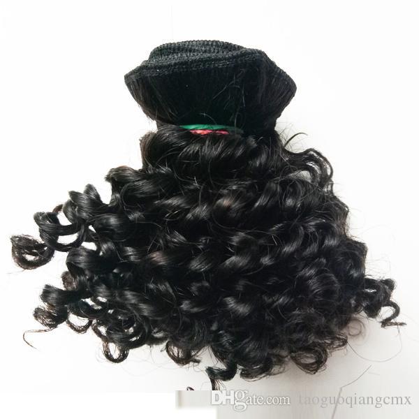 몽골어 브라질 처녀 머리 처리되지 않은 새로운 짧은 타입 6-10inch 변태 곱슬 25g / PC의 300g / 많은 흑인 여성이 인기있는 인도 레미 헤어