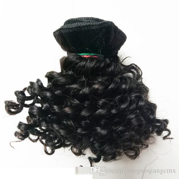 Brazilian Virgin Hair new style short 8-12inch double weft Human Hair 50g/pc 300gKinky Curly Factory Wholesale Indian remy hair