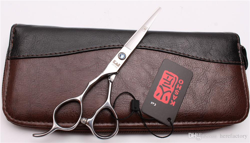 "H8000 6"" 17.5cm Japan 440C Kasho Blue Stone Professional Human Hair Scissors Barbers' Cutting Thinning Shears Left Hand Scissors Style Tools"