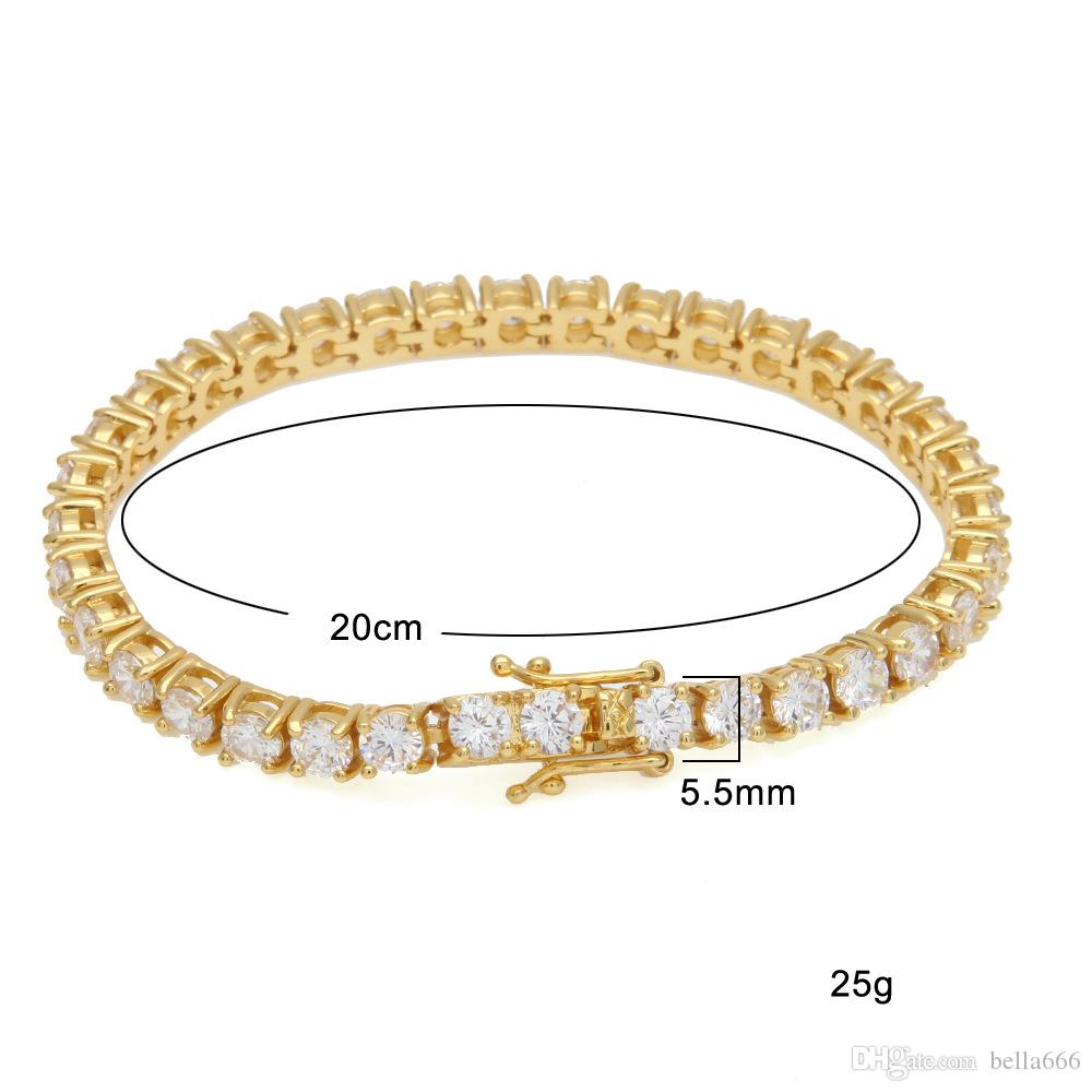 5mm 1 Row Cubic Zirconia Hiphop Bracelets Women Men Blingbing Zircon Bangle Copper Hip Hop Toggle clasps CZ Tennis Link Chain Gift Jewelry