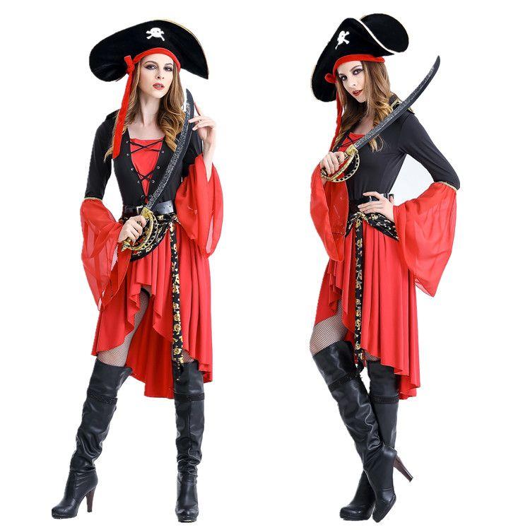 Compre Traje De Halloween Pirata Trajes Femininos Partido Desempenho  Vestuário Exportações Europa E Os Estados Unidos Uniforme Tentação De ... 48db494177e