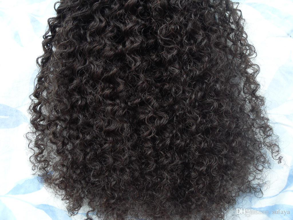 new arrival malaysia virgin afro kinky curly hair weft clip in kinky curly dark brown 2#color human extensions