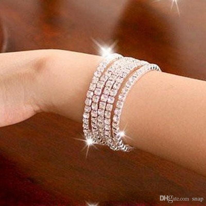 Moda por atacado 1-10 linha Brilhante Rhinestone Elastic Lady Bangle Stretch Cristal Pulseira Fit Festa de Casamento Prom Da Noiva Presente Da Jóia