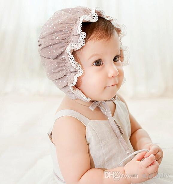 Korean Cute Kids Pure Cotton Hats Infant Baby Girls Lace Star Children Fashion Vintage Christening Hats Summer Baby Caps K7149