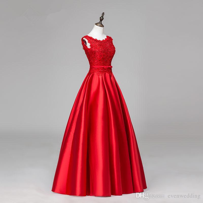 골치 아픈 건 395 새틴 긴 이브닝 드레스와 레이스 Appiques 우아한 바닥 길이의 이브닝 드레스 레드 파티 드레스