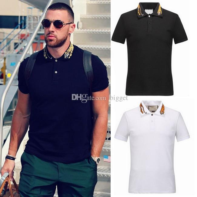 Tiger Embroidery Collar Polo Shirt Men Luxury Leisure Tops Short Sleeved  Stretch Cotton Turn Neck Split Hem Polo Mens Shirt Printed Shirts From  Bigget af6855923d1f