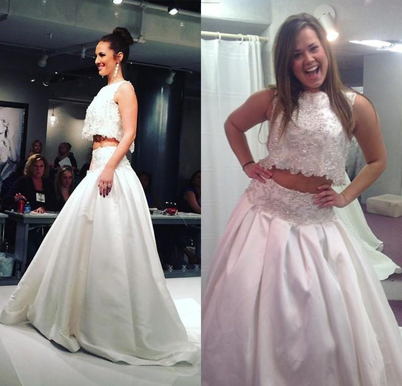 28 Two Piece Wedding Dresses: Discount Bling 2016 Two Pieces Wedding Dresses Lace Satin