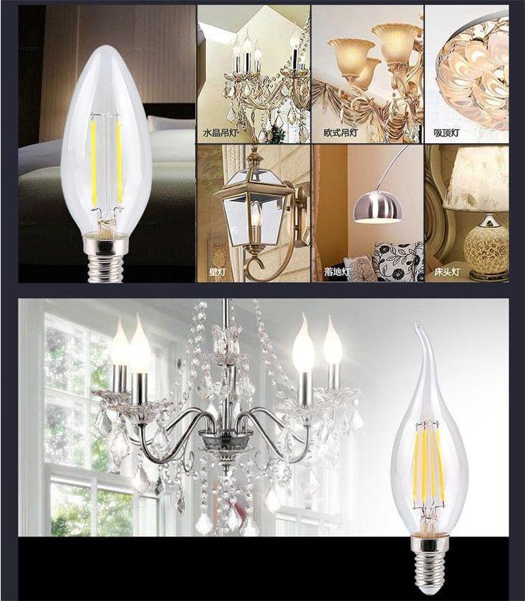 2W 4W LED Filament Candle Light Bulb E14 E27 E26 B15 B22 Energy Saving Bulbs for Chandelier C35 C35T Edison Dimmable Candle Lamp
