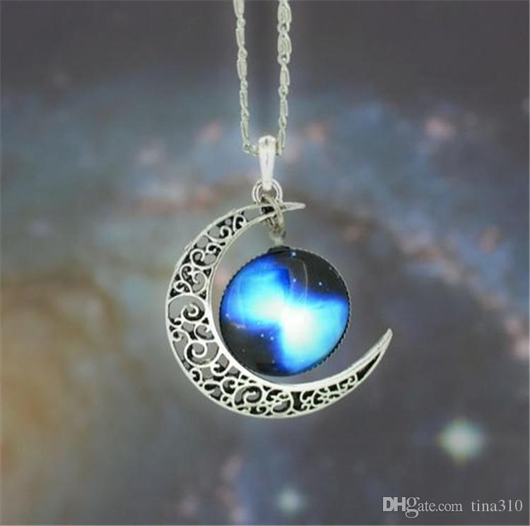 Nouveaux bijoux mode Colliers Vintage étoilé Lune Espace extra-atmosphérique Univers Pierre Pendentif Colliers Mélanger Modèles 2861