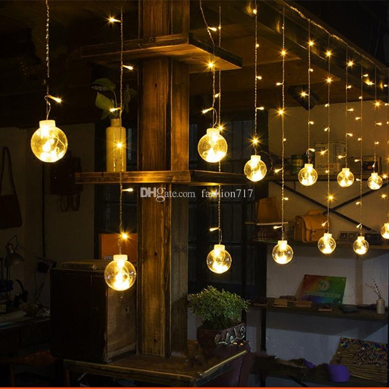 Hot Christmas 3*0.6M Ball Curtain Lights 120led Pearl Icicle Lights Small Ball  Big Ball LED String Light Wedding Holiday New Year Holiday LED Icicle Ball  ... - Hot Christmas 3*0.6M Ball Curtain Lights 120led Pearl Icicle Lights