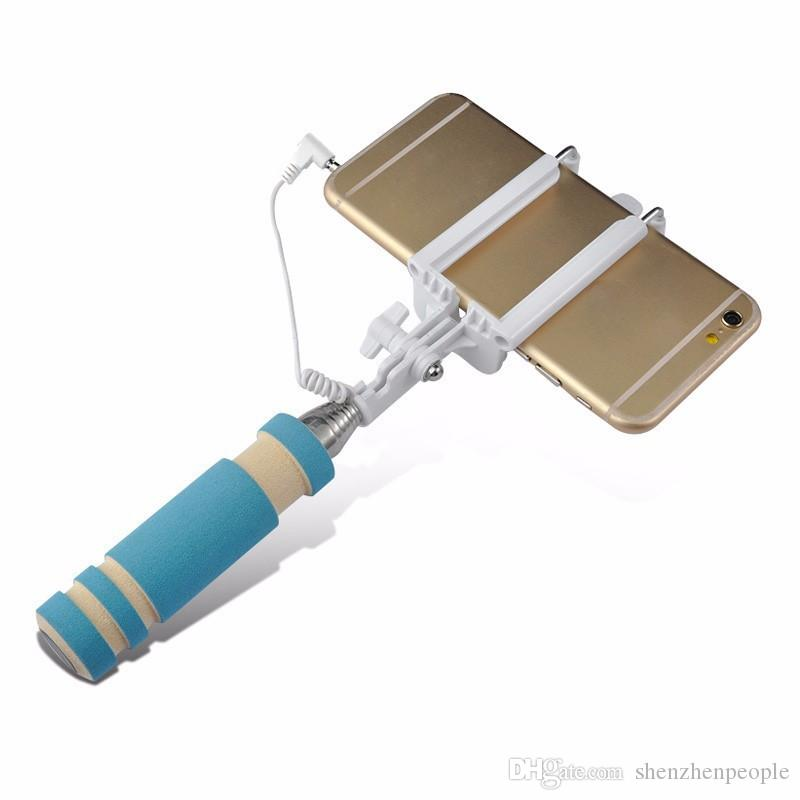 NUEVO Plegable Súper Mini con cable Selfie Stick Portátil Monopod extensible con cable Manija de obturador Compatible con teléfono celular
