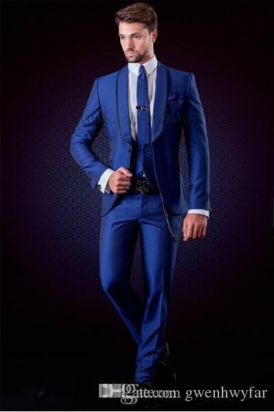 Yeni Tasarım Tek Düğme Mavi Damat Smokin Groomsmen Best Man Suits Mens Düğün Blazer Suits Yemeği İş Takımları Ceket + Pantolon + Yelek