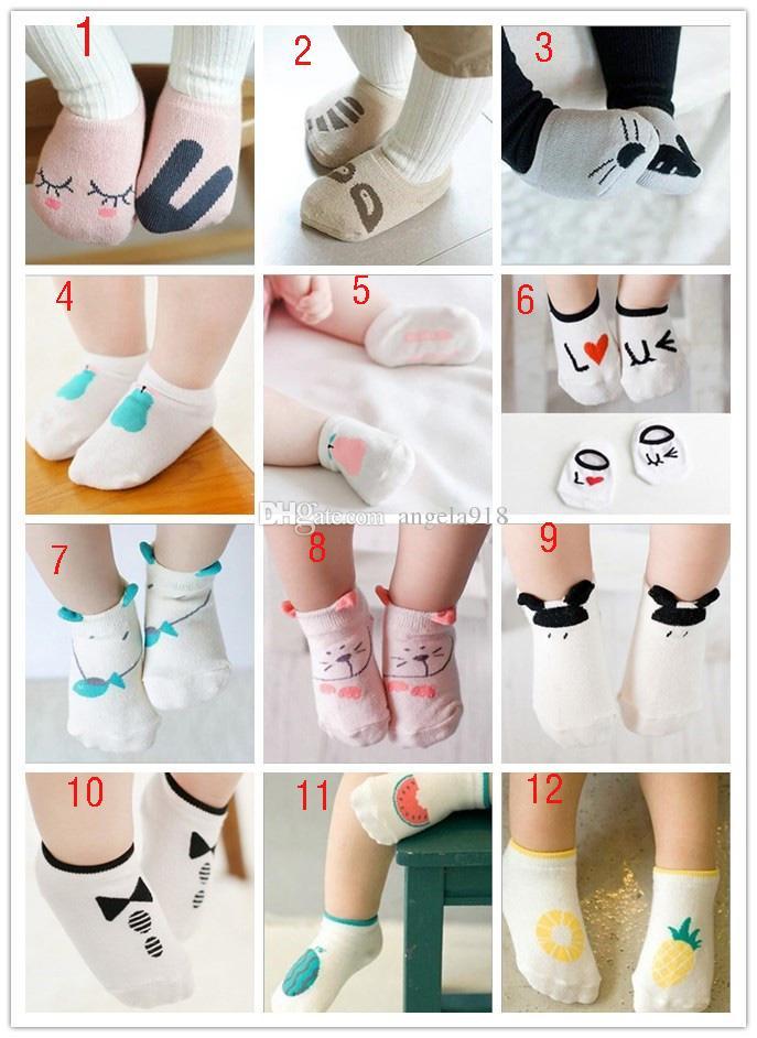 2016 جديد للجنسين الطفل الكرتون الجوارب الرضع الحيوان الجوارب الأطفال القطن الجوارب غير مرئية 20 أنماط C1259