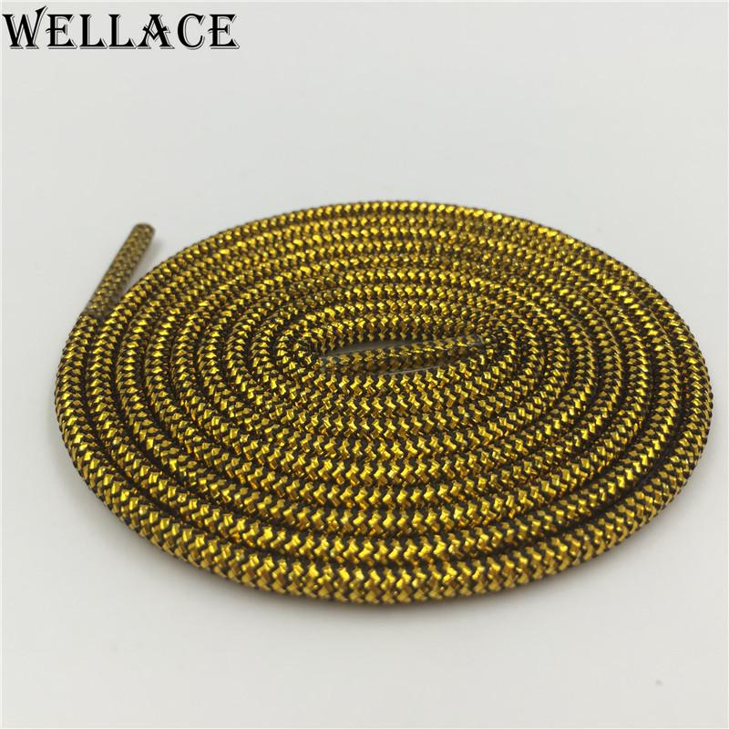 Wellace Shiny Gold Silver Metallic Shoelaces Colored Shoe Strings Round Shoelace Dress Glitter trainer laces for Portable sneaker 120cm