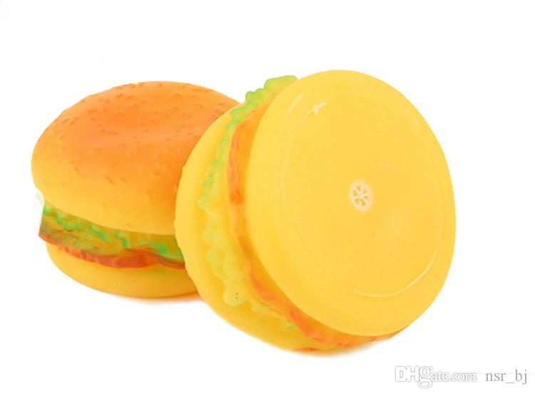Sound Soft Non-toxic Rubber Hamburger Pattern Dog Cat Toy Squeaky Chew and Fetch Cute Pet Puppy Squeaker Toys